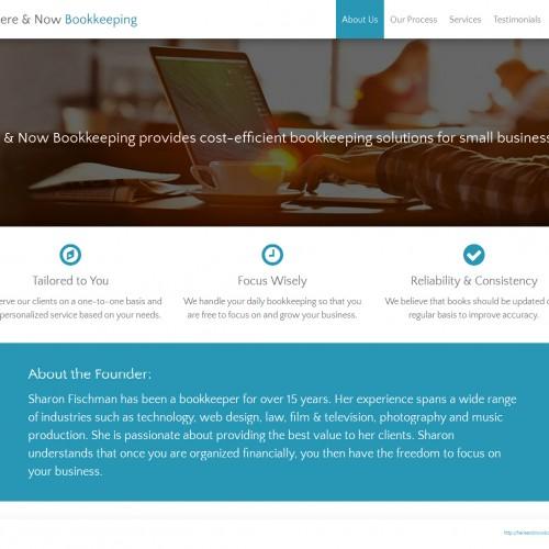 Website Design & Build, Here & Now Bookkeeping, http://hereandnowbookkeeping.com